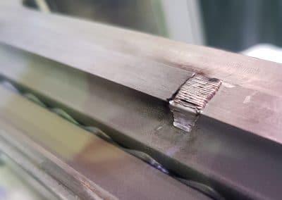 2 - rechargement par soudure laser en respectant la dureté de 28hrc